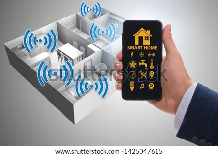 Smart home concept with devices and appliances #1425047615