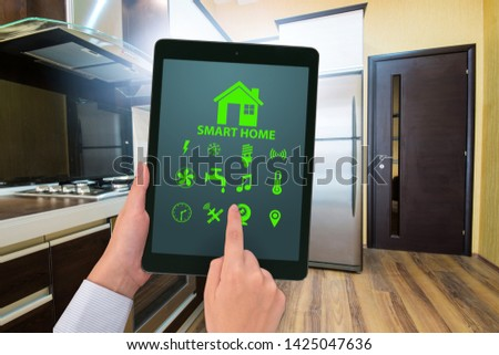 Smart home concept with devices and appliances #1425047636