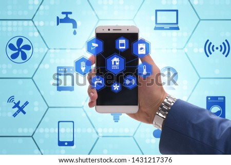 Smart home concept with devices and appliances #1431217376