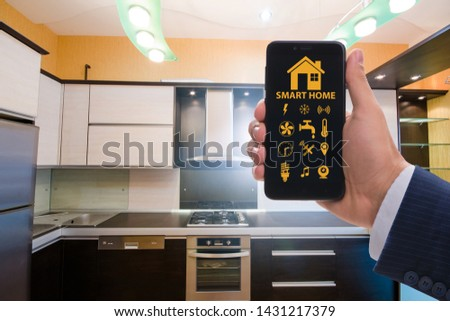 Smart home concept with devices and appliances #1431217379