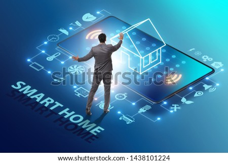 Smart home concept with devices and appliances #1438101224