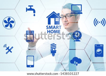 Smart home concept with devices and appliances #1438101227