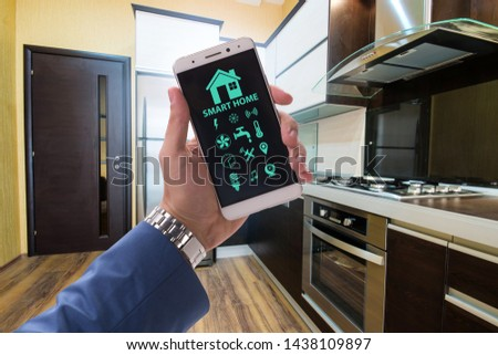 Smart home concept with devices and appliances #1438109897
