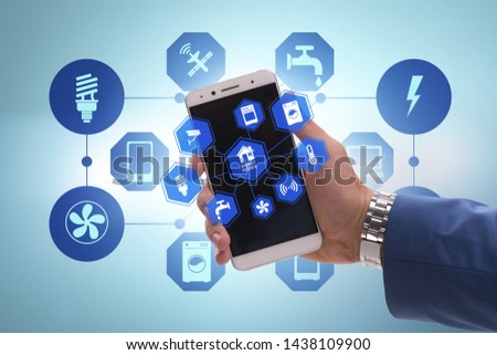 Smart home concept with devices and appliances #1438109900
