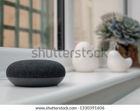 smart home device on windowsill