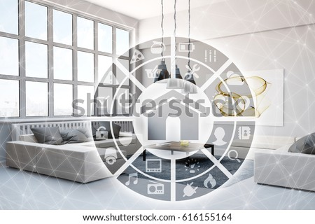Smart home intelligent control interface technology in living room (3D Rendering)