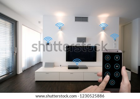 smart home living room controlled by smart phone app
