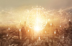 Smart intelligent communication. Abstract Brain with network and connection technology on modern city background. Networking. Innovative technology in science and communication concept.