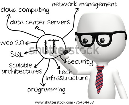Smart IT programmer drawing information technology diagram