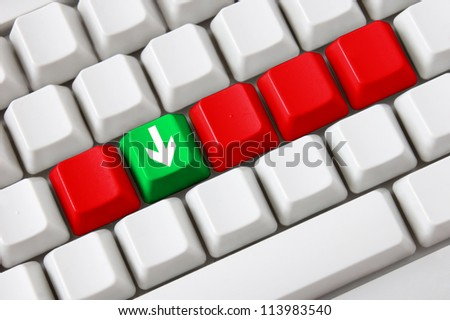 Smart keyboard with color button and download symbol. Concept