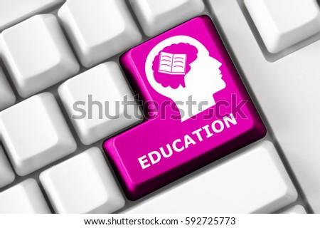 Smart keyboard with education symbol set.  #592725773