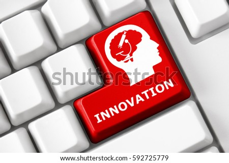Smart keyboard with innovation symbol set.  #592725779