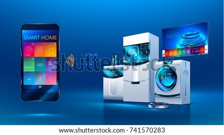 Smart kitchen. the smart phone manages kitchen appliances: dishwasher, refrigerator. washing machine. robot vacuum cleaner, smart TV. isometric illustration