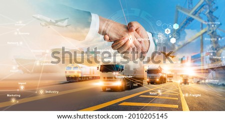 Smart logistics and transportation. Handshake for successful of investment deal teamwork and partnership business partners on logistic global network distribution. Business of transport industrial.
