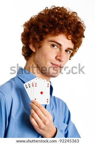 Smart man showing four aces