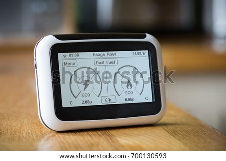 Smart Meter on a Kitchen Worktop Displaying Current Electricity and Gas Usage