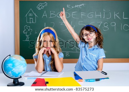 smart nerd student in classroom raising hand with sad friend
