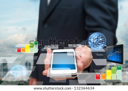 Smart phone and digital report for information : Elements of this image furnished by NASA