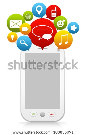 Smart Phone and Group of Social Icon and Empty Screen for Social Network Concept Isolated on White Background