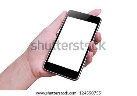 Smart phone and hand of woman, Isolated on white.