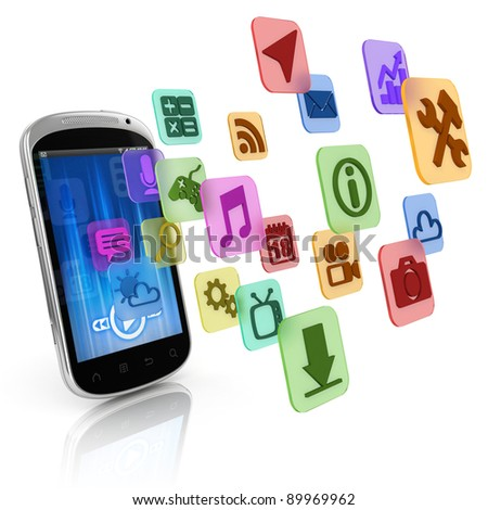 smart phone application icons - app 3d concept - stock photo