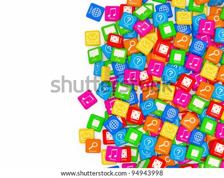 Smart Phone Application Icons on white background with place for your text