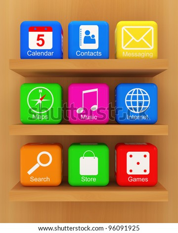 Smart Phone Application Icons on wooden shelf