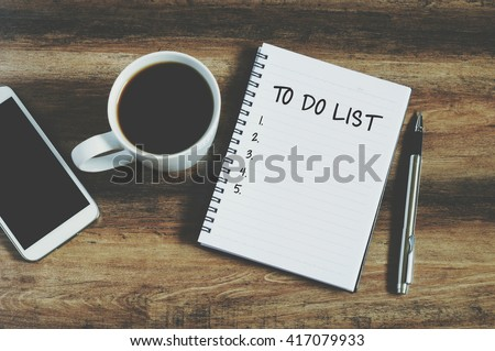 "Smart phone, coffee, pen and notepad with text "" to do list"", retro style  #417079933"