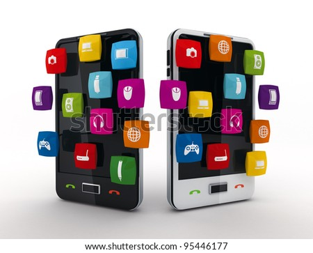Smart phone icons Touchscreen smartphone 3d-render with application icons from the screen, isolated on a white background. - stock photo
