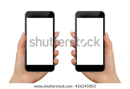 Smart phone in woman hand. Isolated screen for mockup. Left and right hand, front side. #426245803