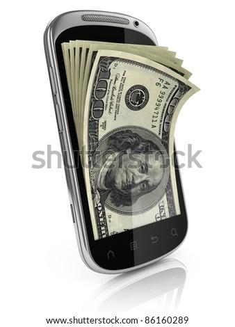 smart phone money earning 3d concept - stock photo