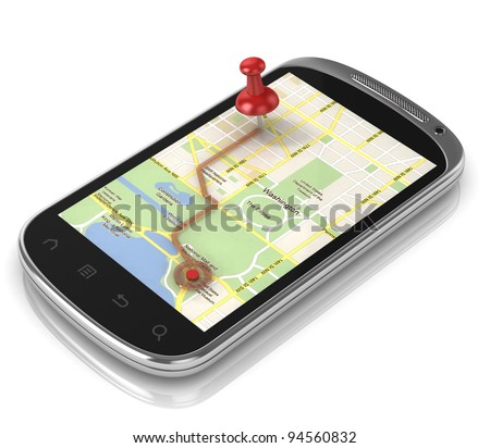smart phone navigation - mobile gps 3d concept