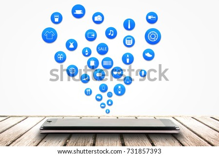 smart phone or tablet on white background with shopping icon set or product icon set, Koncept shopping online #731857393