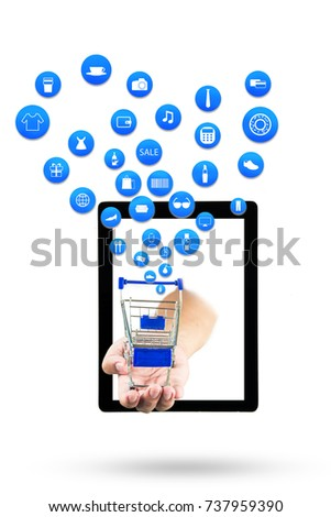 smart phone or tablet on white background with shopping icon set or product icon set, Koncept shopping online #737959390