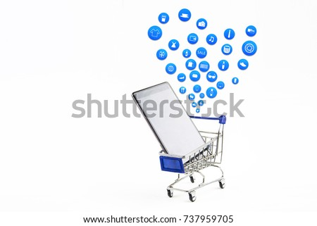 smart phone or tablet on white background with shopping icon set or product icon set, Koncept shopping online #737959705