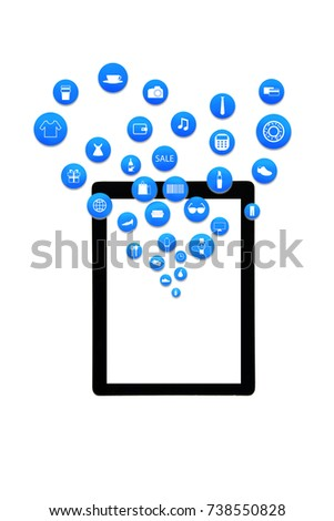 smart phone or tablet on white background with shopping icon set or product icon set, Koncept shopping online  #738550828