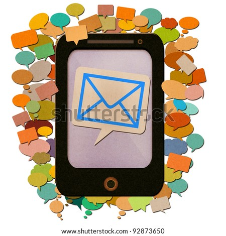 smart phone paper with messages icon created by recycled paper craft isolate on white background - stock photo