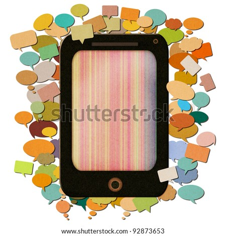 smart phone paper with messages icon created by recycled paper craft isolate on white background
