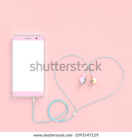 smart phone pastel pink color and earphones wire heart shape on pastel pink background. clipping path and copy space for your text, love concept. 3d render