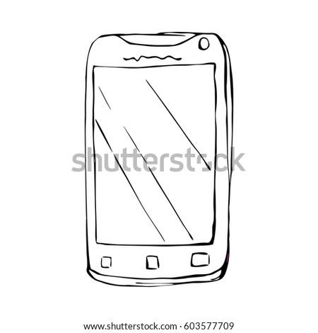 Smart phone - sketch illustration