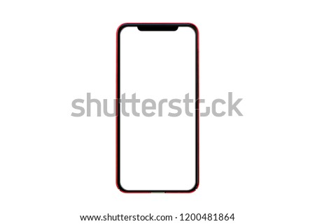 Smart phone tablet, mobile phone technology with white screen isolated on  white free background. flat design Christmas, new year or valentine with copy space for add graphic text advertisement. #1200481864