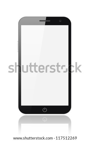 Smart phone-tablet pc with blank screen isolated on white background