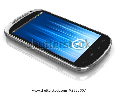 smart phone, touch screen phone isolated on the white background