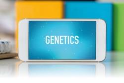 Smart phone which displaying Genetics
