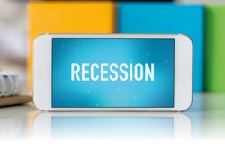 Smart phone which displaying Recession