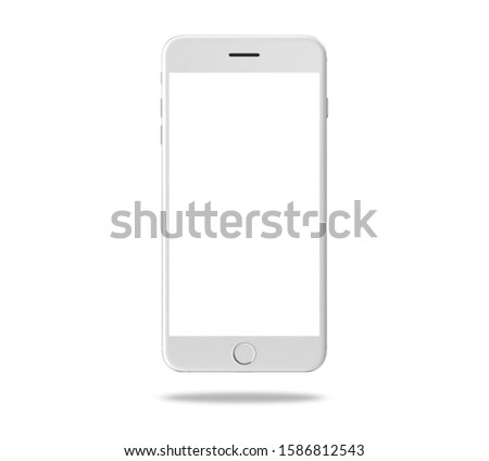 Smart phone white gray mockup isolated on white background with clipping path. Object.