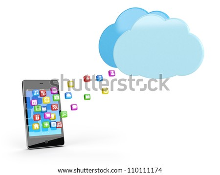 smart phone with app icons and cloud - high quality 3d illustration