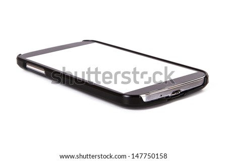 Smart phone with blank, white screen, isolated on white background.