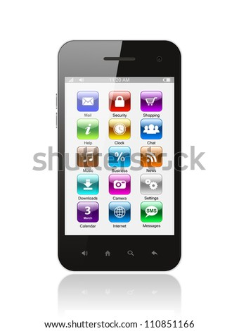 Smart phone with icons on white background