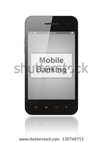 Smart phone with mobile banking button on its screen isolated on white background.